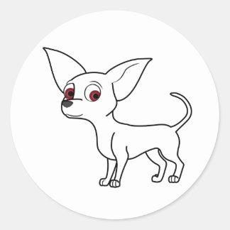 White Chihuahua Round Sticker
