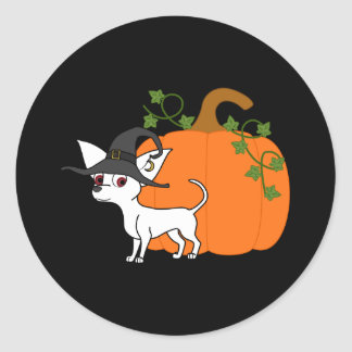 White Chihuahua with Halloween Pumpkin Round Sticker
