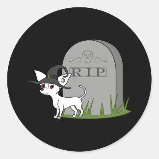 White Chihuahua with RIP Grave Stone Round Sticker