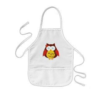 White Childish apron - Yellow Owl