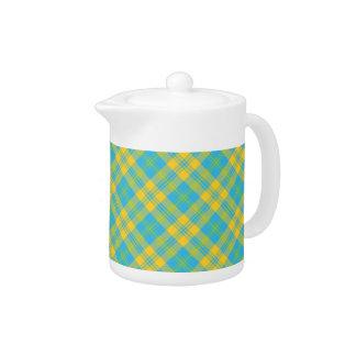 White China Teapot: Blue, Yellow, Green Plaid