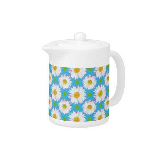 White China Teapot: Daisies, Polkas on Turquoise