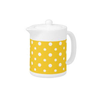 White China Teapot: White Jumbo Polkas, Yellow