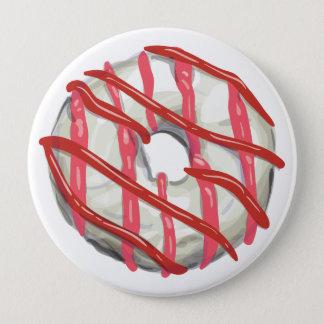 White Chocolate Dipped Doughnut. 10 Cm Round Badge