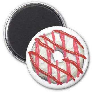 White Chocolate Dipped Doughnut. 6 Cm Round Magnet