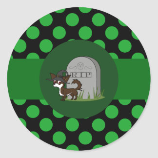 White & Chocolate Long Hair Chihuahua with Grave Round Sticker