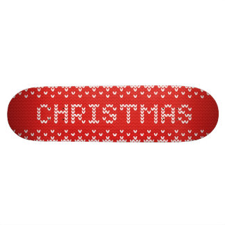 White Christmas Abstract Knitted Pattern Skate Deck