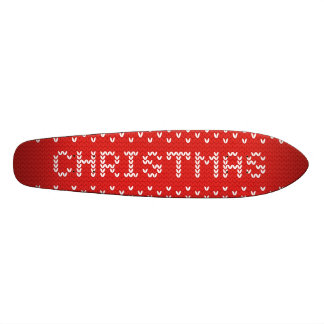 White Christmas Abstract Knitted Pattern Skateboard Decks