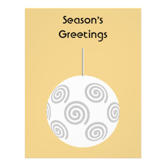 White Christmas Bauble. On Gold Color. Flyers