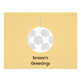 White Christmas Bauble. On Gold Color. Personalized Flyer