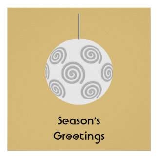 White Christmas Bauble On Gold Color Poster