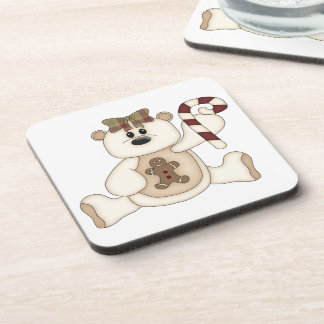 White Christmas Bear-Gingerbread Man Drink Coasters