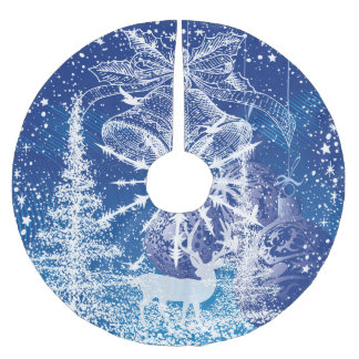 White Christmas Bells & Trees Blue Background Brushed Polyester Tree Skirt