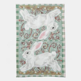White Christmas Bunny Rabbit Green Plaid Towel