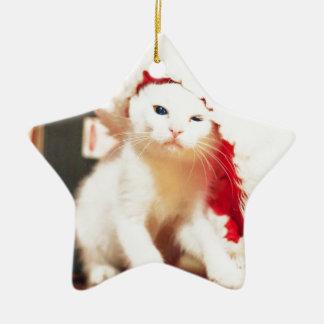 White Christmas Cat Christmas Ornament