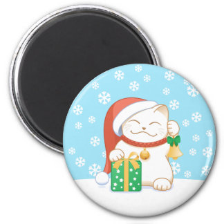 White Christmas Cat in a Red Hat 6 Cm Round Magnet