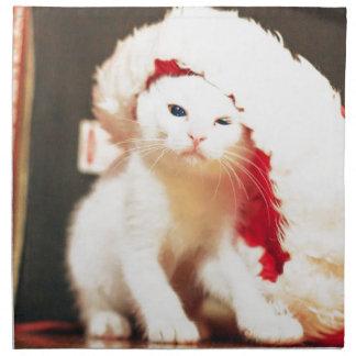 White Christmas Cat Napkin