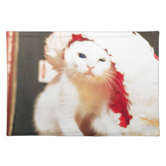 White Christmas Cat Placemat