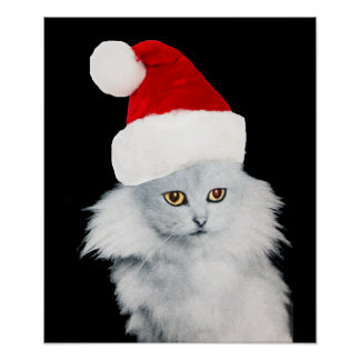 WHITE CHRISTMAS CAT WITH SANTA CLAUS HAT POSTER
