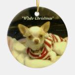"""""""White Christmas"""" Chihuahua Tree Ornament"""