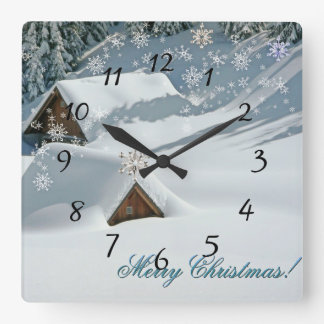 White Christmas covered snow Square Wall Clock