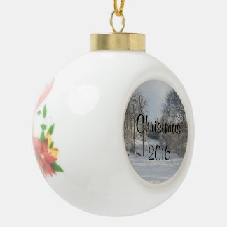 White Christmas Custom Message Ball Ornament