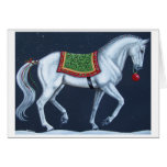 White Christmas Dressage Warmblood Card