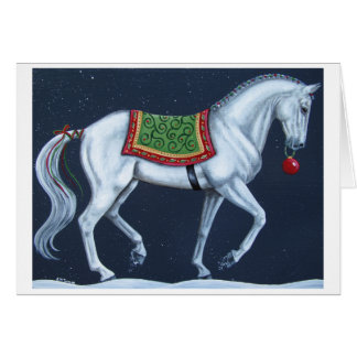 White Christmas Dressage Warmblood Card
