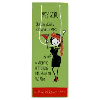 White Christmas Funny Sisterhood Wine Gift Bag