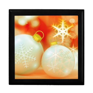 White Christmas Ornaments Large Square Gift Box