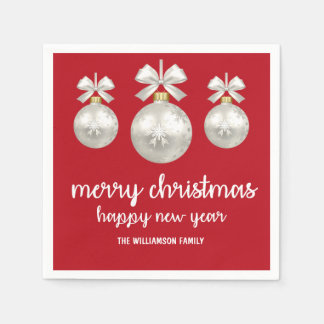 White Christmas Ornaments on Red, Personalized Paper Napkins