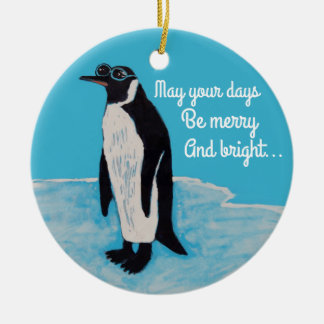 White Christmas Penguin with Sunglasses on Ice Christmas Ornament