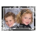 White Christmas Snowflake Photo Card Personalized Invitation