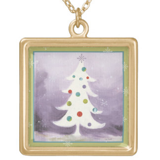 White Christmas Tree Gold Plated Necklace