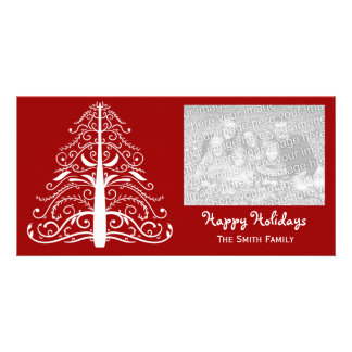White Christmas Tree Happy Holidays Picture Card