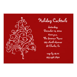 White Christmas Tree Holiday Cocktail Party Invite