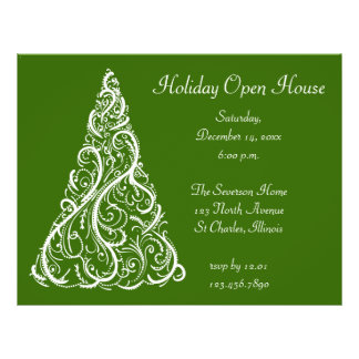White Christmas Tree Holiday Open House Invitation 21.5 Cm X 28 Cm Flyer