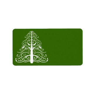 White Christmas Tree on Green Address Label