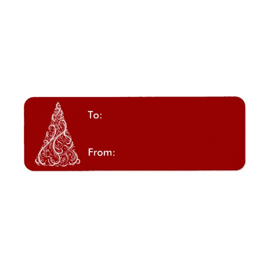 White Christmas Tree on Red Gift Tag Return Address Label
