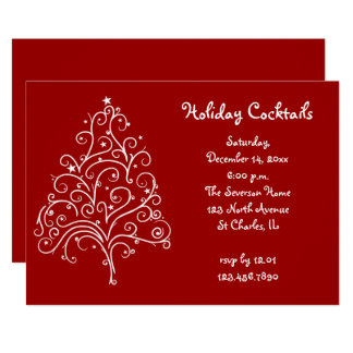 White Christmas Tree on Red Holiday Cocktail Party Card