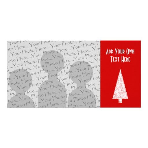 White Christmas Tree. On Red. Modern. Custom Personalized Photo Card