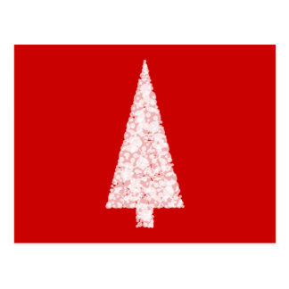 White Christmas Tree. On Red. Modern. Postcard