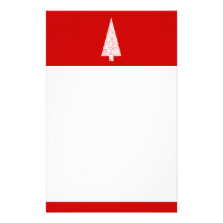 White Christmas Tree. On Red. Modern. Stationery