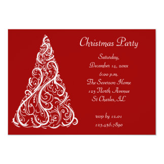 White Christmas Tree on Red Party Invitation