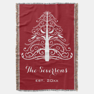 White Christmas Tree on Red Throw Blanket