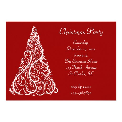 White Christmas Tree Party Invitation