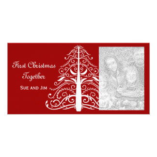 White Christmas Tree Red First Christmas Together Picture Card