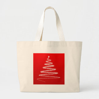 White Christmas tree silhouette Canvas Bags