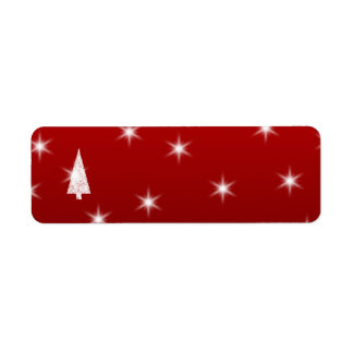 White Christmas Tree with Stars on Red. Return Address Label