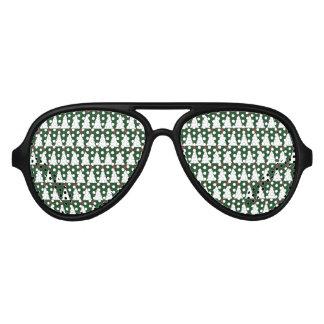 White Christmas Trees on Sparkling Green Aviator Sunglasses